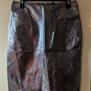 NWT, Rachel Roy oil slick pencil skirt, size 6